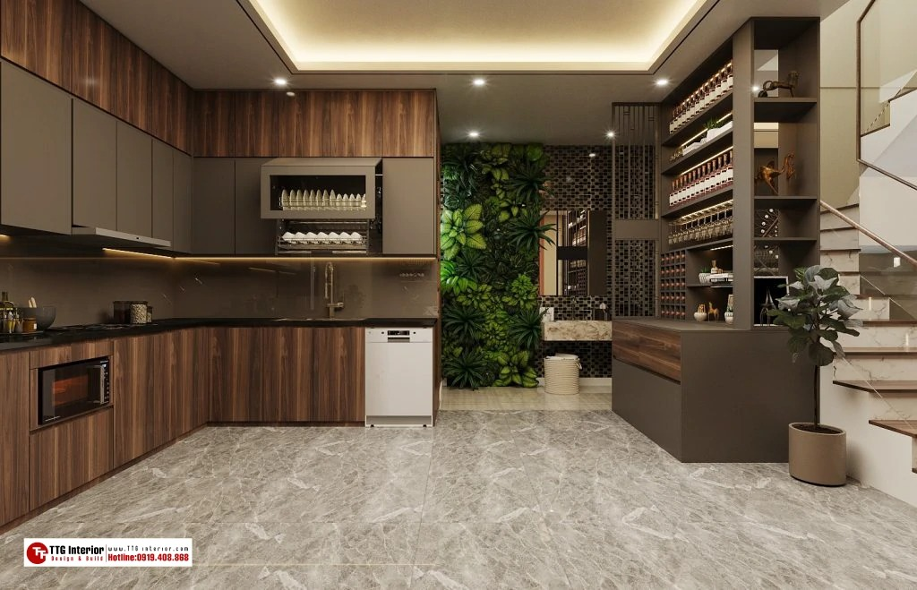 tủ ruouj gỗ đặt trong phòng bếp
