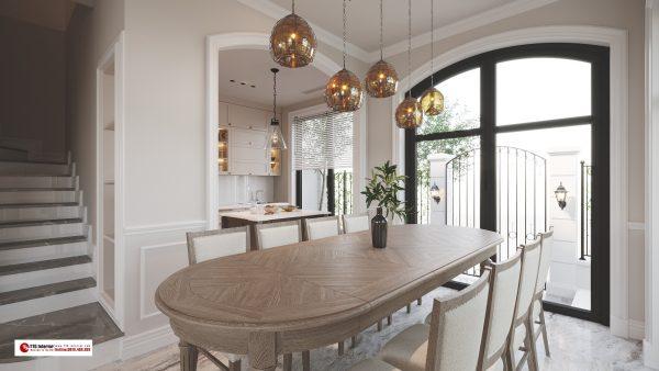 Phòng ăn được decor tinh tế
