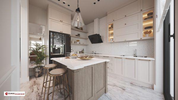 Phòng bếp mang hơi hướng Bắc Âu sang trọng