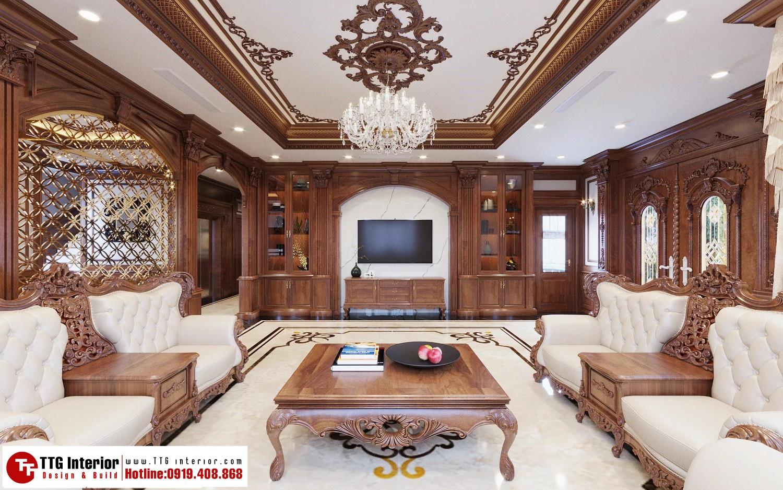 nội thất phong cách tân cổ điển biệt thự Hoàng Huy Riverside