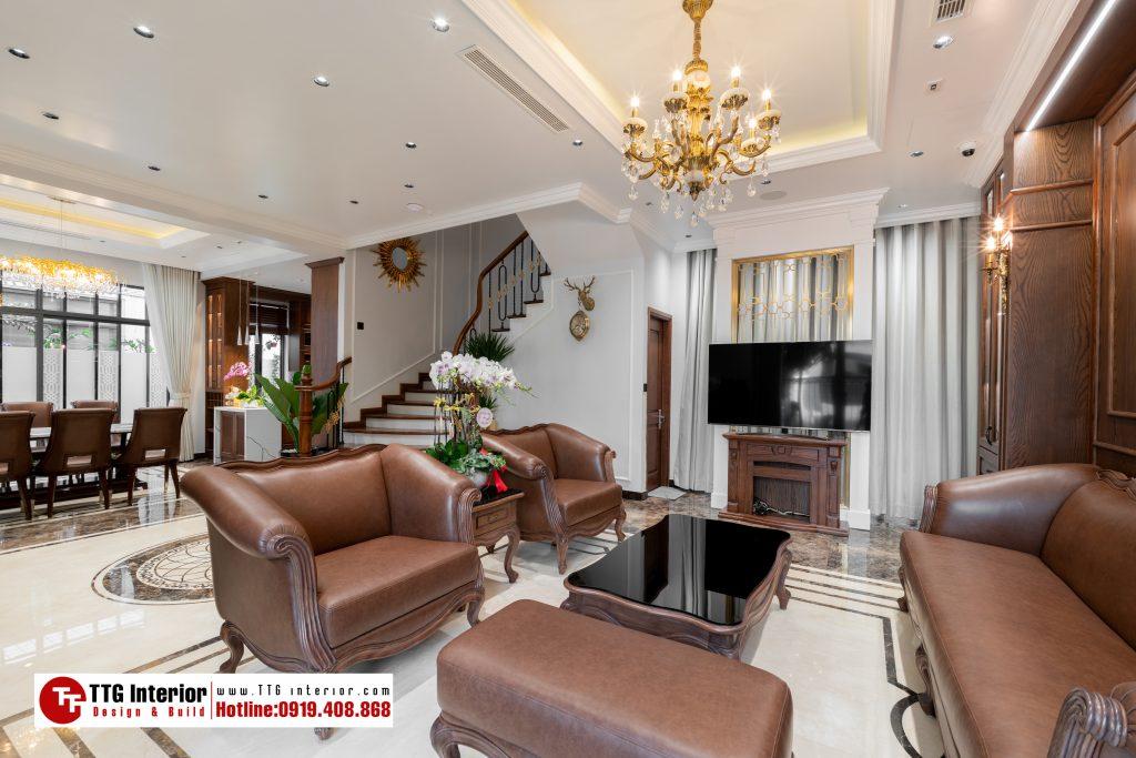 Thiết kế thi công nội thất biệt thự Mahattan anh Hưng