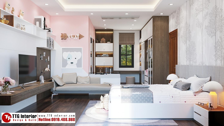 Phòng ngủ con gái với tone hồng nhã nhặn, dễ thương
