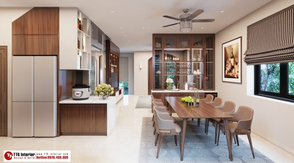 Không gian tủ bếp vô cùng sang trọng, tiện nghi