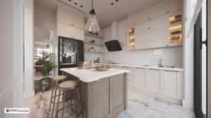 Thiết kế tủ bếp tân cổ điển với tone màu trắng tinh tế chủ đạo
