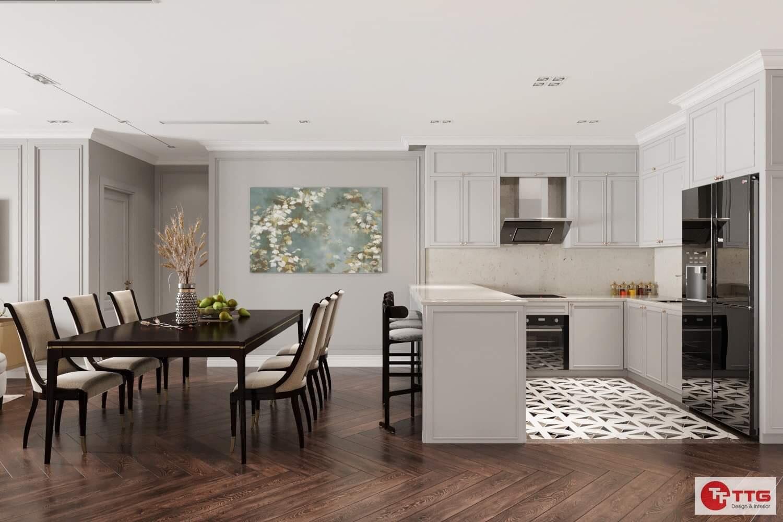 phòng bếp ăn tận dụng tối đa không gian sử dụng