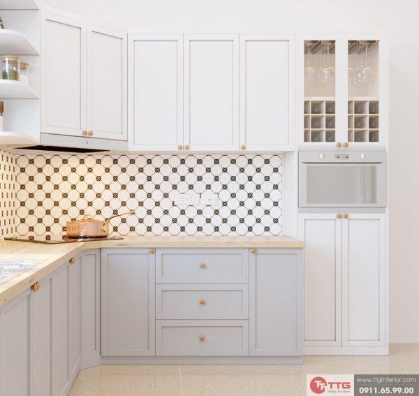 Tủ bếp hiện đai với tone màu trắng chủ đạo