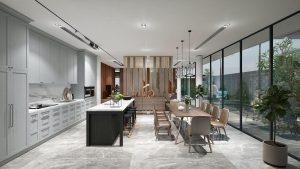 Không gian bếp chan hòa ánh sáng tự nhiên