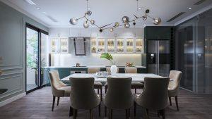 Tủ bếp tân cổ điển sang trọng trong không gian hẹp