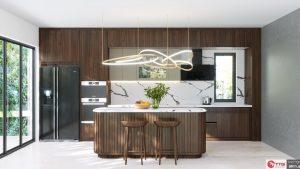 Tủ bếp hiện đại gỗ óc chó sang trọng