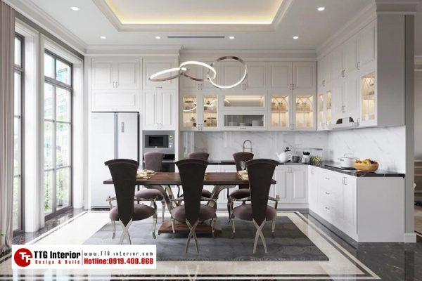 Tủ bếp tân cổ điển nhà anh H với tone màu trắng chủ đạo