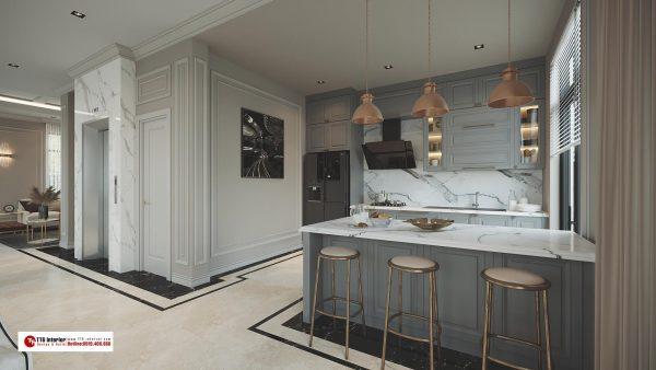 Tủ bếp tân cổ điển với tone màu xám sang trọng