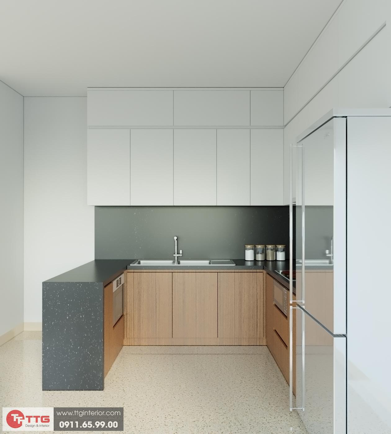Tủ bếp tối giản cho người phụ nữ hiện đại