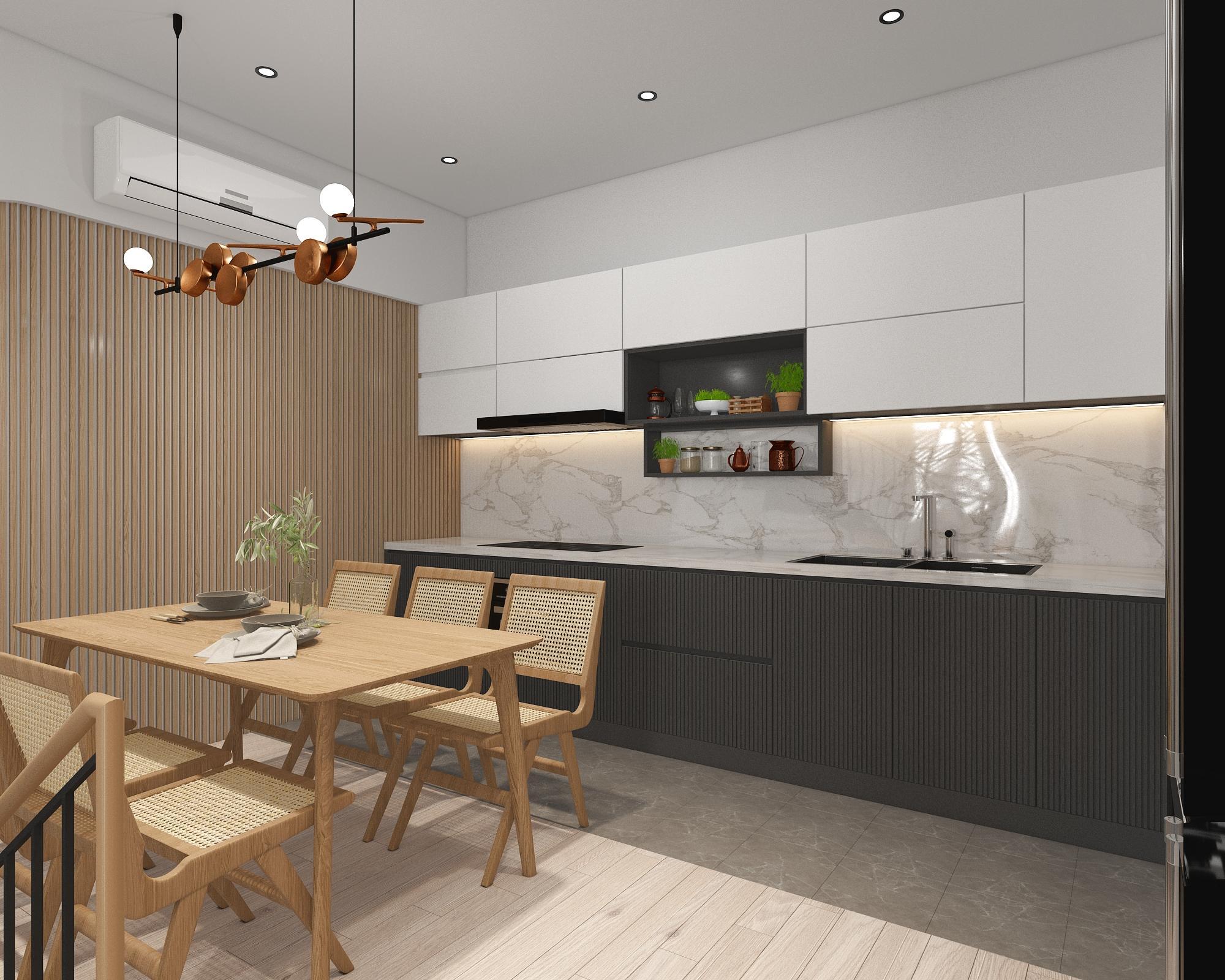 Tủ bếp tối giản, tiện nghi với 2 tone màu chủ đạo