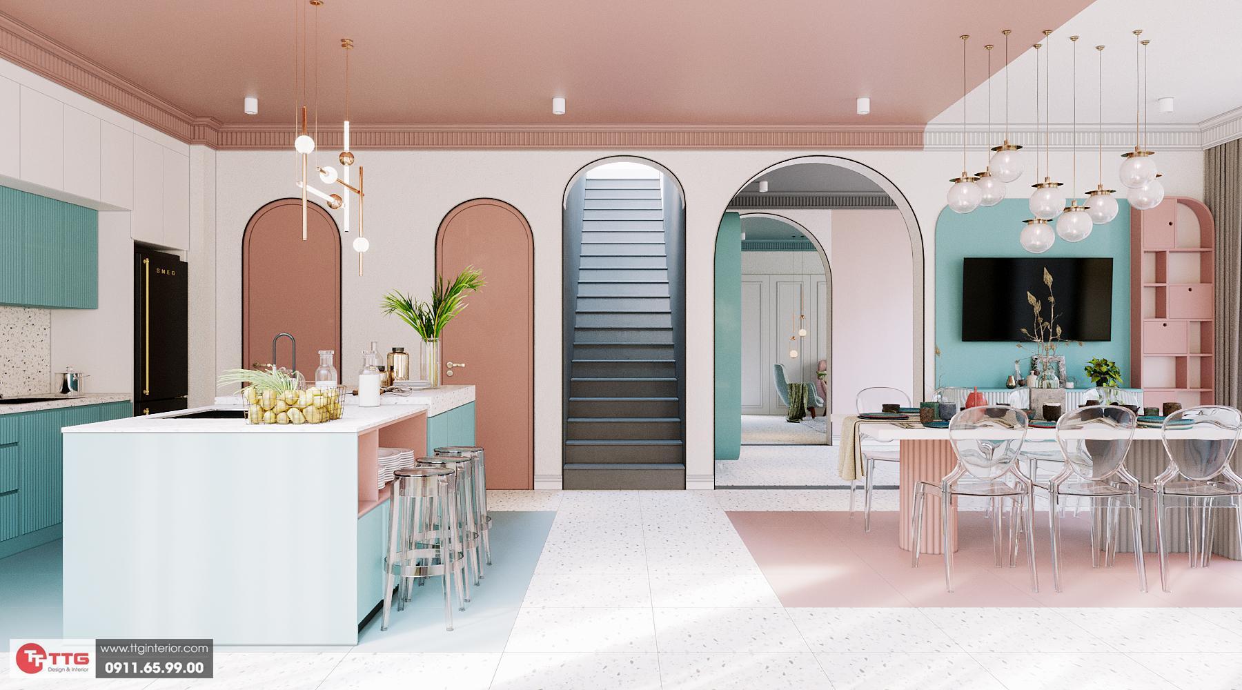 Tủ bếp color block hiện đại ấn tượng