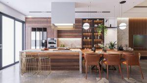 tủ bếp hiện đại với vật liệu gỗ chủ đạo