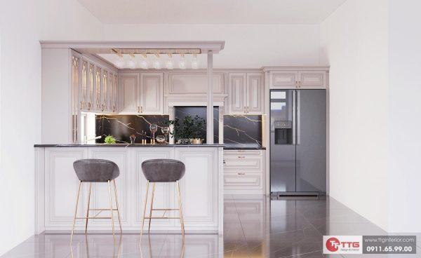 Tủ bếp tân cổ điển với tone màu trắng tinh tế