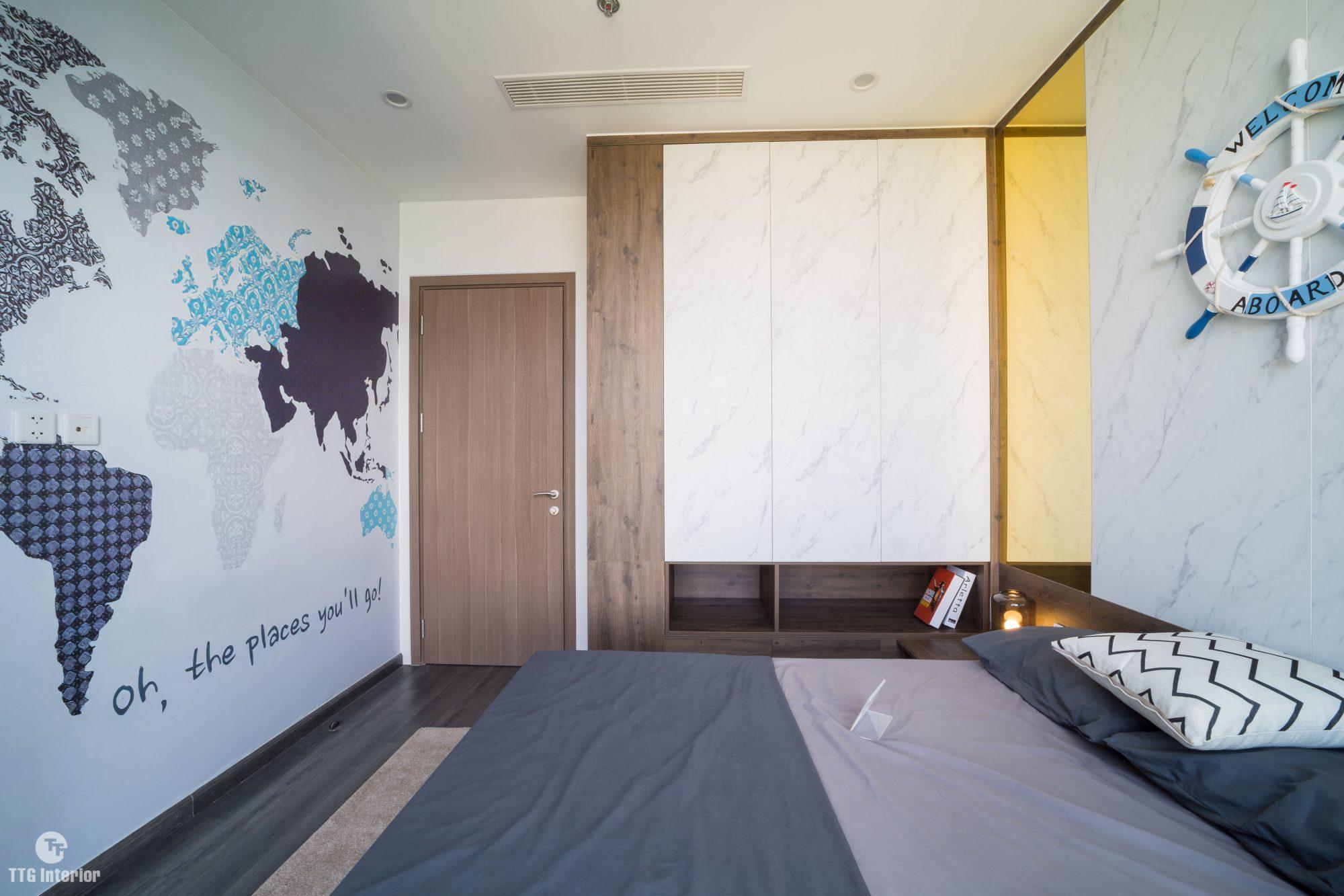 Phòng ngủ con phân chia công năng hợp lí