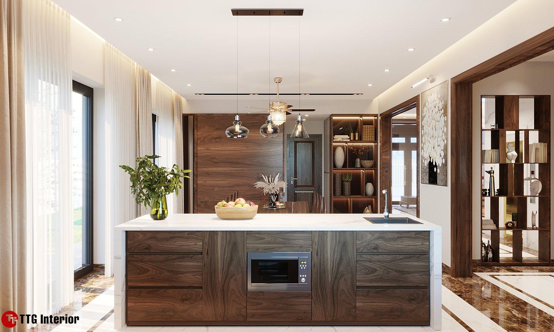 Hệ tủ bếp kết hợp bàn đảo sang trọng