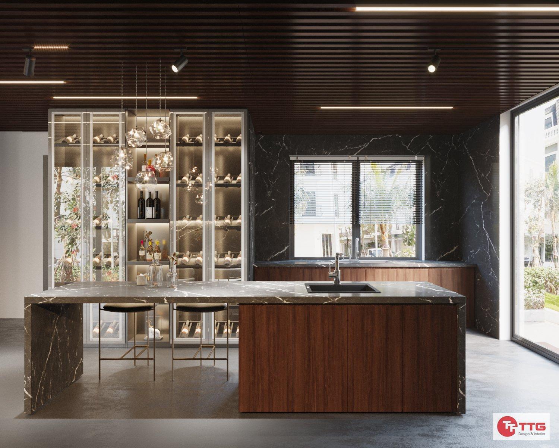 Tủ bếp gỗ tự nhiên kết hợp bàn đảo sang trọng, tiện nghi