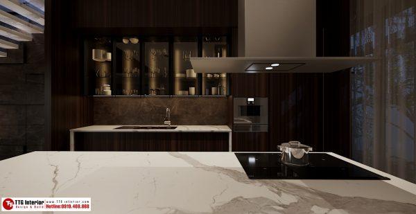 Không gian bếp với bàn đảo tinh tế