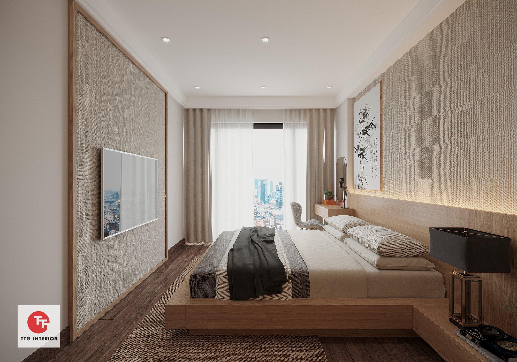 Phòng ngủ thư giãn với phong cách Wabi Sabi